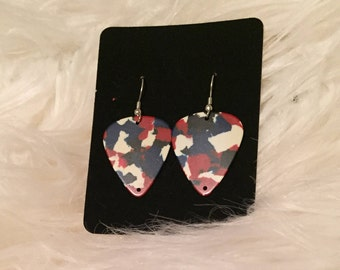 Guitar Pick Earrings - Red, White, and Blue