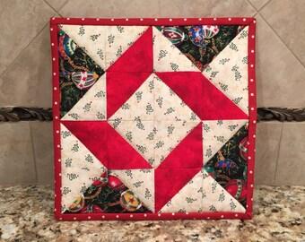 Christmas potholder, hot pad, trivet, Quiltsy handmade, Item #118