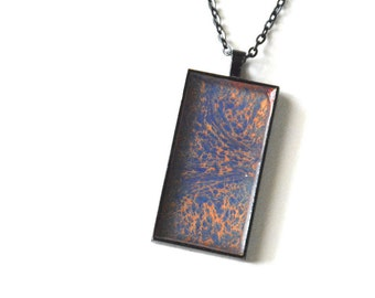 Abstract Paint Necklace, Colorful Art Pendant, Modern Necklace, Rectangle, Square, Black