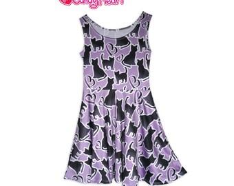 Cat Silhouette Print Dress Black Cat Print Skater Dress Purple All Over Print Dress In Stock & MTO Sz Xs-5XL