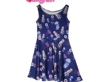 Jellyfish Dress Blue Ocean Jelly fish Skater Dress Cute Pretty In Stock & MTO Sz Xs-5XL