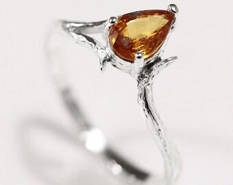 Spessartite Garnet Silver Ring Mandarin Garnet Orange Garnet Ring