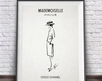 Mademoiselle Chanel • Coco Mademoiselle Prive Chanel Fashion Illustration Sketch Drawing Sketch Art Sketch Print Girly Prints Girly Art