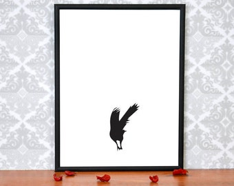 Crow Art Prints, Minimalist Black and White Raven Art Print - Crow Bird Wall Art .8.5 x 11, Bird Art print, Take off