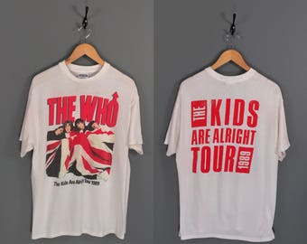 """1989 The Who """"The Kids Are Alright"""" Tour T-Shirt. Amazing Paper Thin Vintage 80s """"The Who"""" Union Jack Band Photo Promo Rock Tour Tee."""