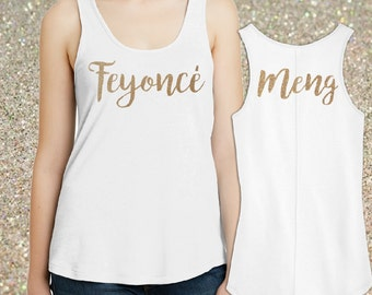 Feyonce Glitter Tee Custom w/ Brides Name. Custom Feyonce Bride Shirt. Feyonce w Bride Name. Personalized Bride Shirt * Tank, V-Neck or Tee