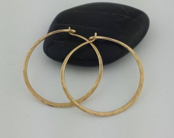 14k Solid Gold Hammered Hoop Earrings, 18 Gauge, Hammered 14k Gold Hoops, Thick Hoop Earrings, Hammered Earrings, Sleepers, Round Hoops