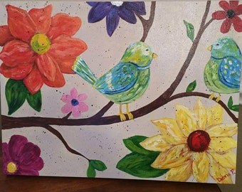 Bird, tree limb, flower, acrylic, art, colorful, canvas, wall art, cheerful, fun, original, folk art