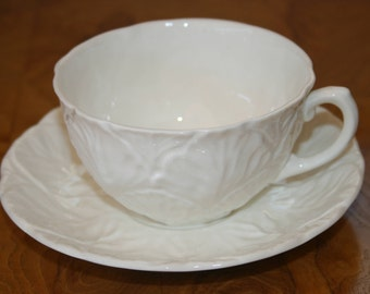 Coalport Countryware White Leaf Embossed Tea Cup and Saucer