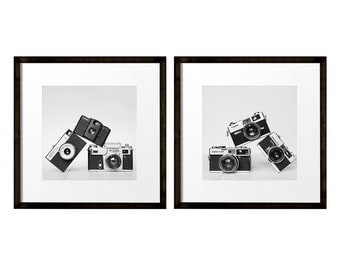 Vintage Camera Print, Large Wall Art, Square Prints, Set of 2 Prints, Camera Wall Art, Black and White Photography, Hipster Gift Ideas