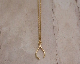 Personalized wishbone necklace initial jewelry gold plated gold wishbone necklace wishbone charm necklace good luck necklace gold necklace wishbone aloadofball