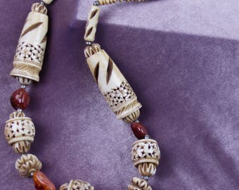 African carved bone ethnic-style vintage necklace