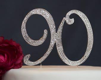 90 Rhinestone Cake Topper Premium Crystal Rhinestones - Monogram Number Ninety - 90th Sparkly Birthday Party Decoration