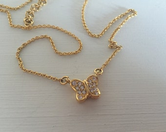 Vintage Monet Butterfly necklace gold metal rhinestones classy classic pendant 80s costume jewelry