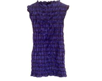 Vintage ISSEY MIYAKI Pleats Please Black w/ Blue Polka Dot Crinkle Dress- Sz M