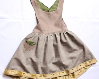 "Made in France. Hand made. Dress girl 5/6 years. ""Collect"" gold "". Linen/silk/Stretch. Unique piece. 90 euros"