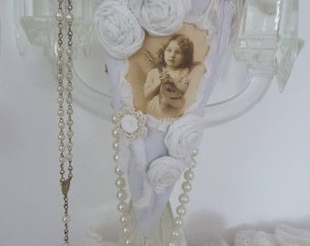 Spitztüte of lace shabby vintage collage picture roses flowers Shabbychic decoration Angels linen mother's day birthday scent sachets Lavender