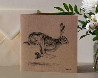 Galloping Hare Greetings Card