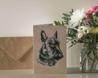 Scottie Dog (Scottish Highland Terrier) Greetings Card - Blank Inside