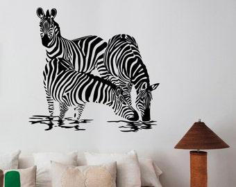 Zebra Family Wall Decal Vinyl Sticker African Horse Wild Animal Art Decorations for Home Housewares Living Room Bedroom Wildlife Decor zb5