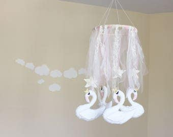 Swan baby mobile white nursery mobile neutral baby mobile boy and girl baby mobile star baby mobile Crib mobile Nursery mobile decor