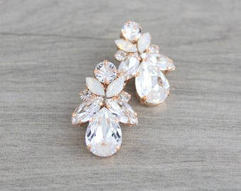 Rose Gold Bridal earrings, Crystal Wedding earrings, Bridal jewelry, Swarovski earrings, Stud earrings, Crystal earrings, Vintage style