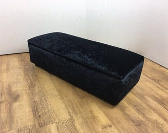 Large  Black Crushed Velvet Opening top Foot Stool