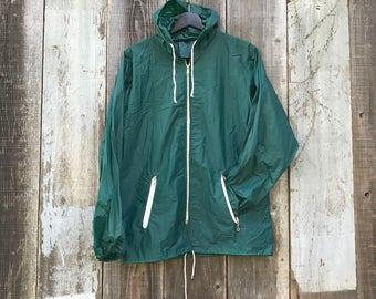 Green Wind Breaker Jacket | 90s Wind Breaker | 1990s Wind Breaker | Green 90s Jacket | Green Hooded Wind Breaker | Liteweight Wind Breaker