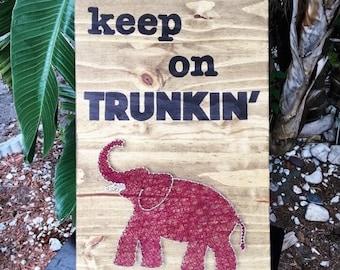 "Elephant ""Keep on Trunkin"" String Art"