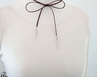 Choker necklace collar Brown Silber