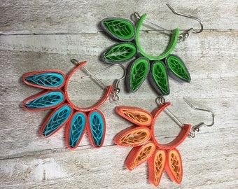Quilled Paper Bright Summer Dangle Earrings, Three Color Options, Green_Blue_Orange