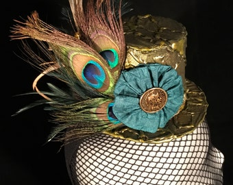 Metallic Miniature Top Hat Fascinator Steampunk Cosplay Fantasy Fashion Victorian Hand Painted Antique Gold Peacock Feathers Teal Flower