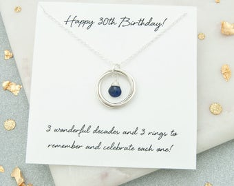 30th Birthday Gift For Her, 30th Birthday Jewelry, 30th Birthday Gift For Daughter, 30th Birthday Birthstone Necklace, 30th Keepsake Gift
