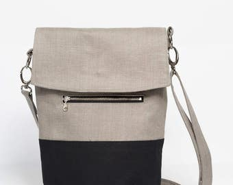 Gray linen and canvas laptop bag or shoulder bag. Modern minimal aesthetic. High quality OOAK bag. Perfect for Spring.  100% guaranteed.