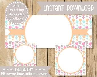 Blank DIY Facebook Set - Spring Tulip Pastel - Do It Yourself Blank Facebook Cover - Blank Facebook Set Banner - Flowers - INSTANT DOWNLOAD