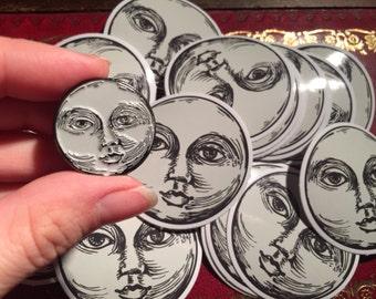 Enamel gun metal grey moon face glow in the dark pin badge
