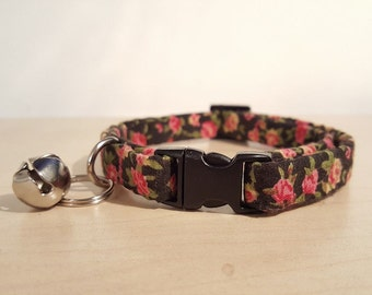 Cat Collar, breakaway, black with roses, female cat collar, adjustable, safety buckle, kitten, black, rose, female cat, quick release
