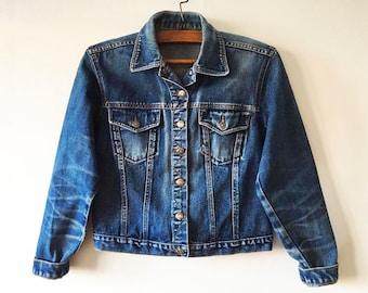 Vintage Dark Blue Denim Jacket Cropped Denim Jacket Women's Distressed Jacket Womens Denim Jean Jacket Blue Denim Jacket Size Large Jacket