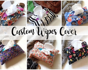 Custom Baby Wipes Cover - You Choose Any Fabric! - fits regular packs of wet wipes - wipes wallet - wipes clutch - wipes bag
