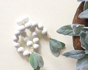 White Bead Garland, White Wood Beads, Lambs Ear, Wooden Bead Garland, Wood Bead Garland, Garland, Wood Beads, Bead Garland, Rustic Garland