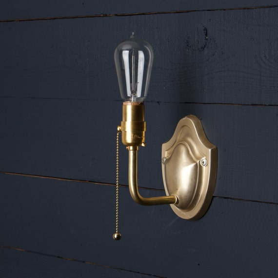 vintage brass wall sconce pull chain. Black Bedroom Furniture Sets. Home Design Ideas