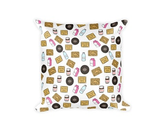 Cookies Pillow Covers, Printed Pillow, Cookies Pillowcase, Milk Pillowcase, Milk Pillow Covers, Decorative Pillows, Cookies and Milk,