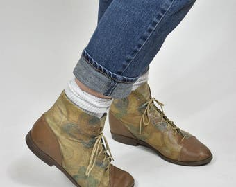 Vintage 80's Paisley Light Brown Leather Oxford Boots