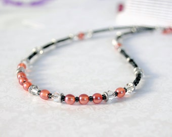 Peach Bead and Crystal Necklace by Jars in Bloom