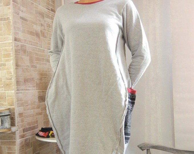 Extravagant Tulip Loose Asymmetric Dress / Soft Comfortable Cotton Gray Oversized Dress / New collection Red necklace dress
