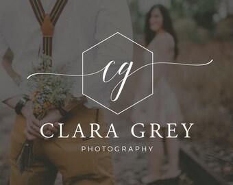Initials Logo, Polygon Watermark, Photography Logo Design, Predesigned Logo, Customizable Logo, Logo Photography Business, Script Logo