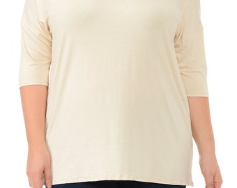 Solid Relaxed Tunic Plus Cream