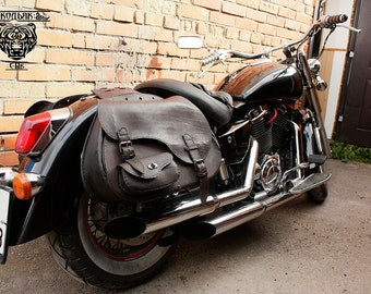 Motorcycle Bag Biker Saddle Bag Brown Leather Throw over Bag