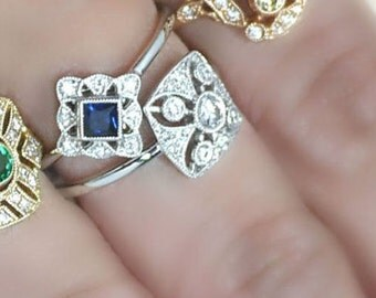 18K solid gold side-way cusion cut sapphire and diamond art deco ring