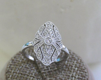 18K solid gold pave diamond fancy art deco ring